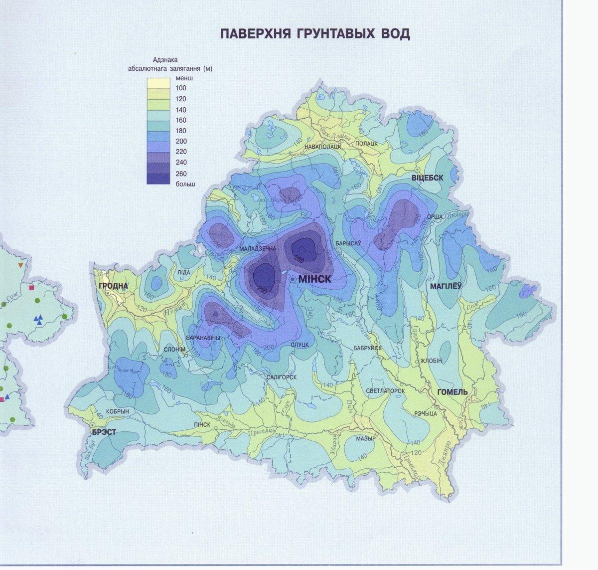 Карта поверхности грунтовых вод Беларуси