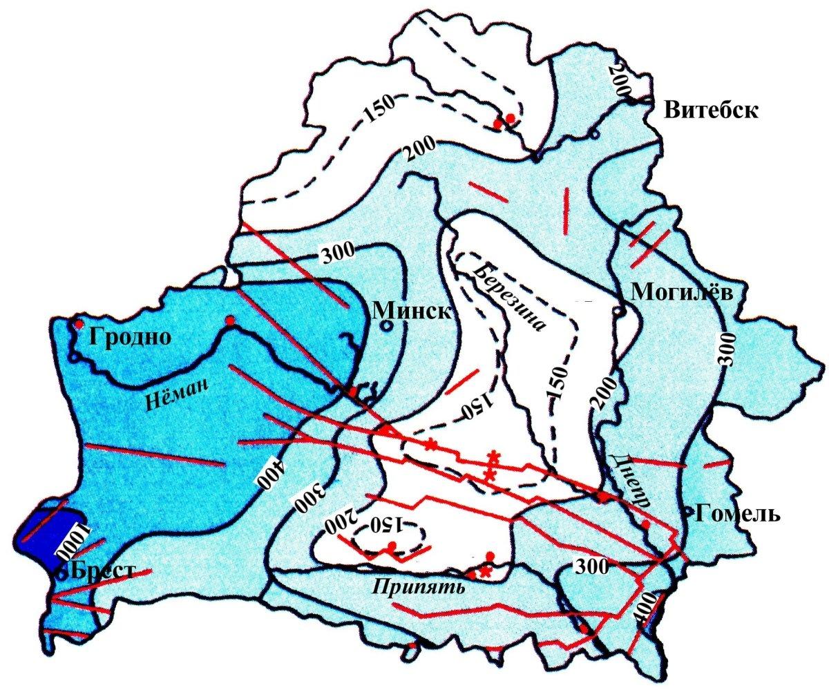 Схема мощности (подошвы залегания) зоны пресных вод Беларуси (м).
